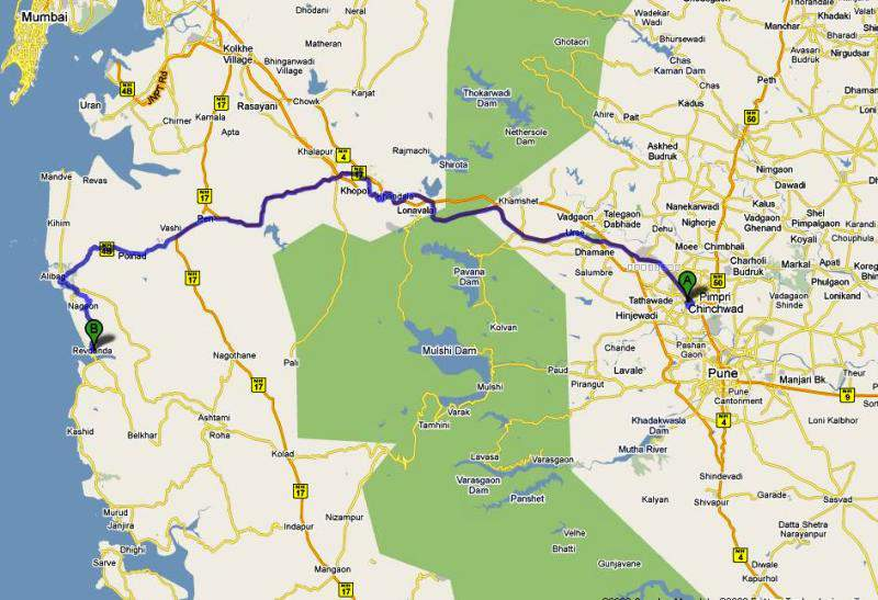 map pune to revdanda
