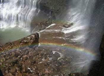 rainbow at kataldhar waterfall