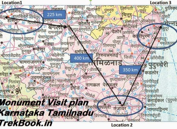 Monument Visit map Karnataka Tamilnadu India