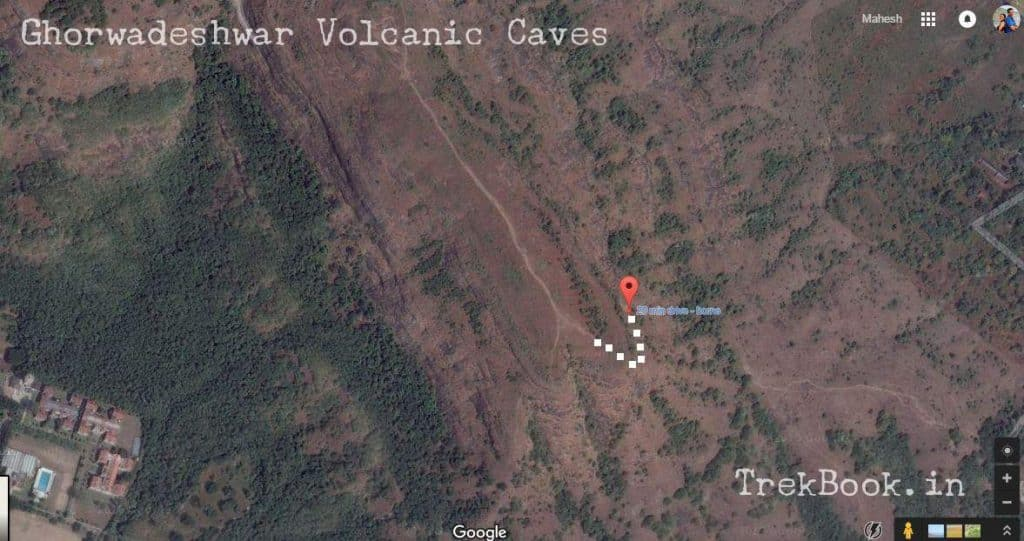 map to Ghorwadeshwar Caves vlocanic