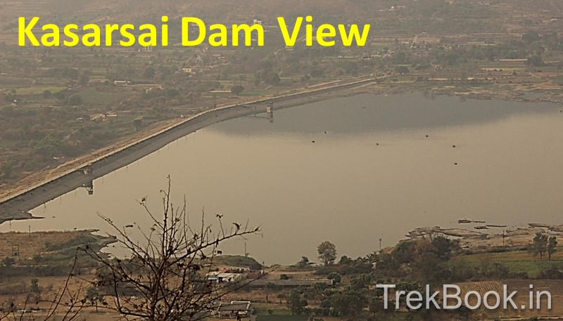 kasarsai dam scenic view from top of Waghjai temple