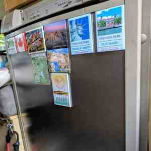 RV refrigerator door with magnets