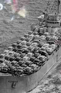 cars on freighter
