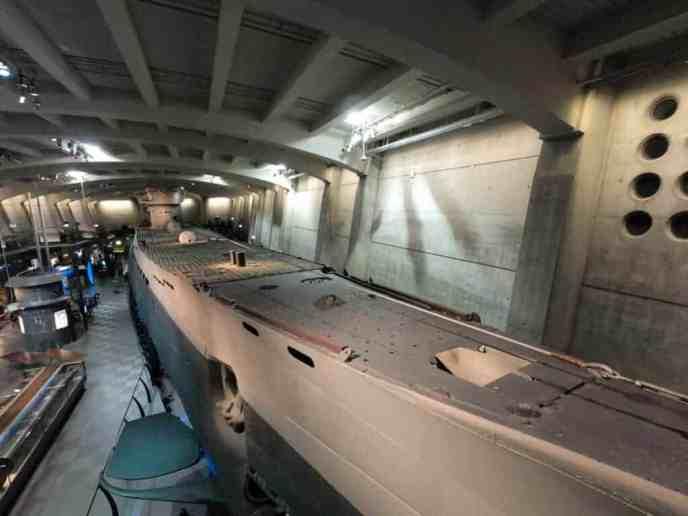 WWII submarine in museum exhibit