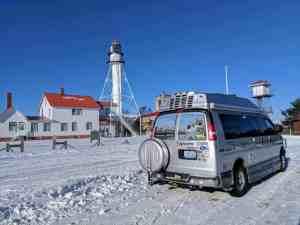 camper van near lighthouse