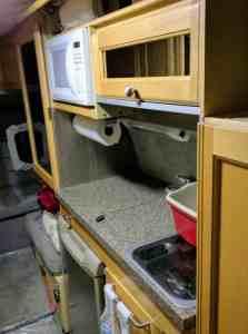 Kitchen in Class B RV van