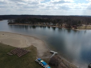 aerial view of lake and campground at Metamora Hadely State Recreation ARea