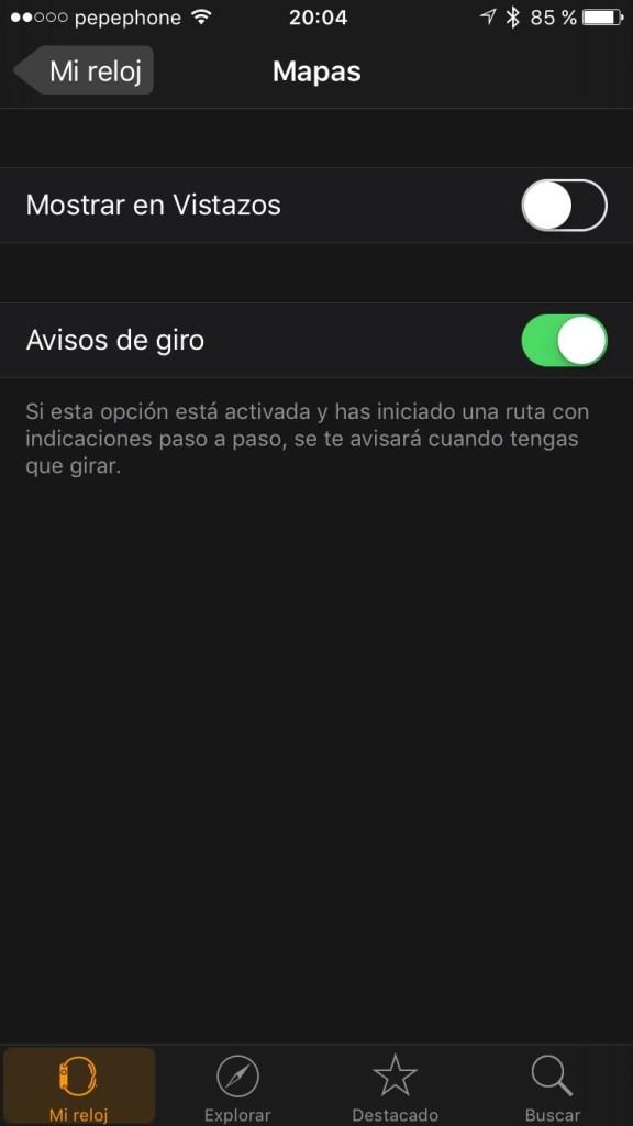 Watch OS 2 - Avisos de giro