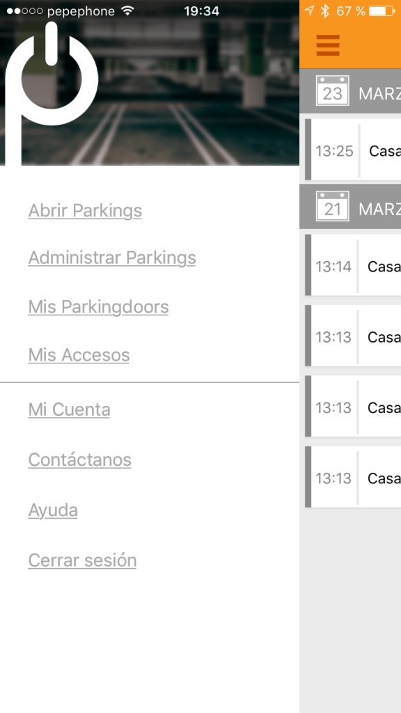 Menu de la App de Parking Door