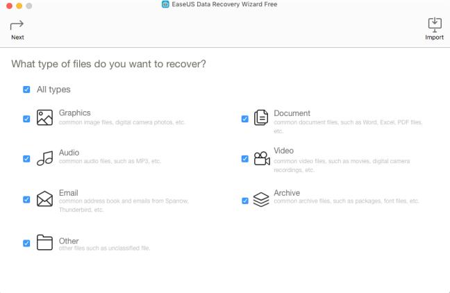 EaseUS Data Recovery Wizard tipos de archivo