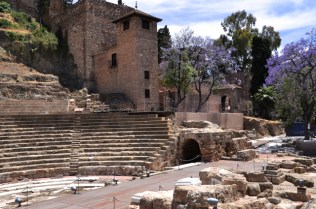 Roman amphitheater, with remains of the stage building in foreground
