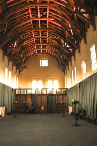 The Grand Hall interior's hammerbeam roof (reconstructed)