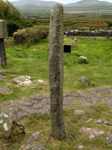 Ogham Stone; the edge marks are the Primitive Irish writing