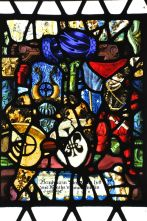 Stained glass window of re-assembled pieces