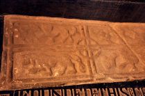 The sarcophagus lid of the Cathedral's founder, Donal O'Brien
