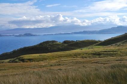 The mainland, Rona Island, and the sea