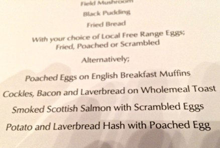 Breakfast menu, Roch Castle