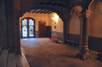 The foyer, looking back at the entrance; staircase to the left