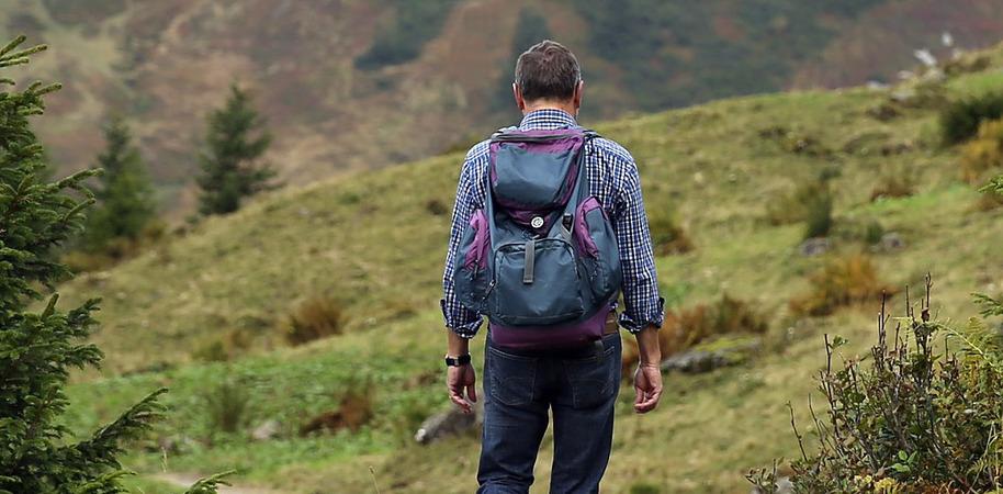 Trekking Rucksack im Gelände