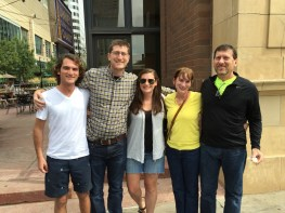 The 5 of us by the clock tower on 6th Street in Downtown Denver. Eli's friend Jack wanted a picture of the 5 of us to text to his wife. Thanks, Jack for taking the picture