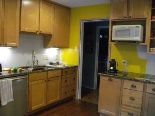 Kitchen with cabinet pulls.