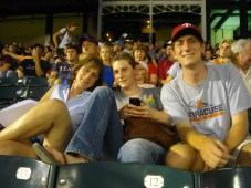 Hanging at a Rangers game in June 2011. T-shirt Eli wearing now in quilt