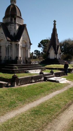 Steve standing between two tombs at Cypress Grove Cemetery. These memorials were impressive to view.
