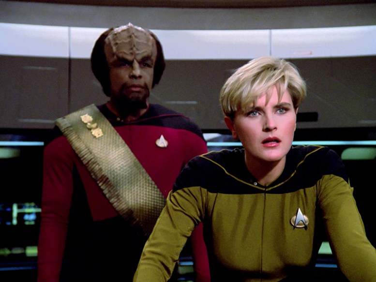 """Denise Crosby as Tasha Yar in TNG's """"The Naked Now""""   TREKNEWS.NET   Your daily dose of Star Trek news and opinion"""