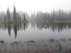 Rock Lake in the fog in the Indian Heaven Wilderness.