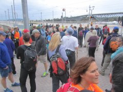 The ramble groups gathering at the bridge.