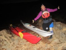 Diane bundled up and ready for out moonlight paddle.