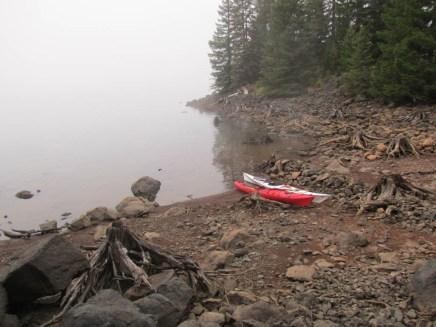 Kayak where we left them last night but heavy morning fog.