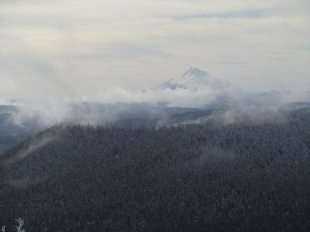 View of Mt. Jefferson through the clouds.