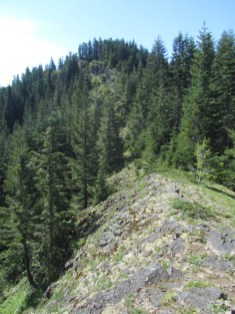 The trail runs next to this final ridge line to the top.