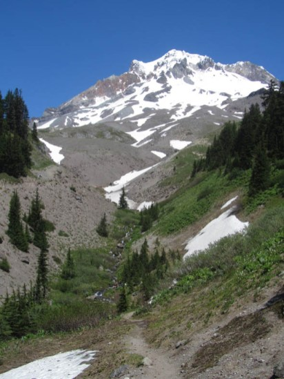 I had to go over and the classic shot of Lost Creek and Mt. Hood. Still one big patch of snow left across the trail.