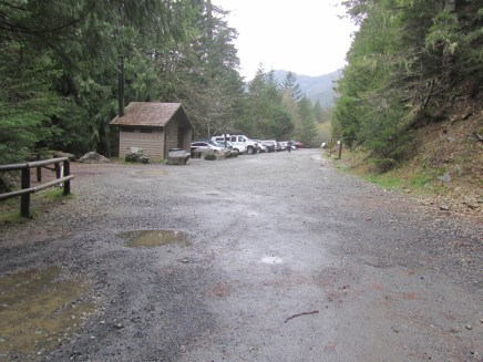 Parking lot at the start of Opal Creek.
