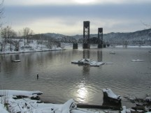 Willamette Cove and the Rail Road Bridge. This area is a super fund site.