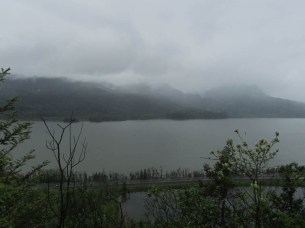 A view out over the Columbia River on a gray rainy day.