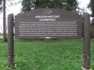 This sign give a brief history on Champoeg.