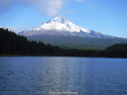 Mt. Hood from Trillion Lake. The private company running Trillion Lake now charges $5 to stop and take a picture of it.