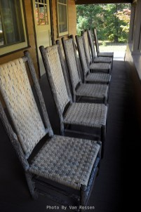Chairs Lined up on the porch of the National Park Inn.