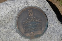 A plaque honoring the 10th Mountain Division of WW2 that trained on Mt. Rainier is along the Waterfall Trail.