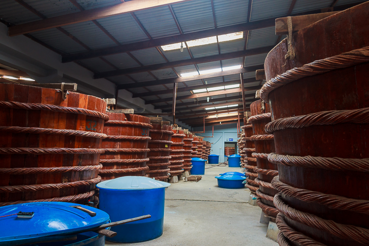 Fermentation vats at Fish Sauce factory in Phu Quoc