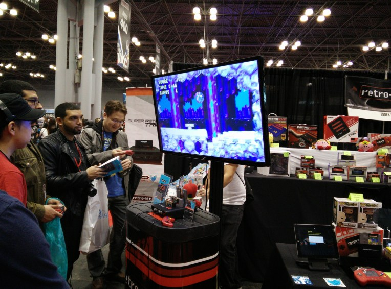 Attendees playing classic Sonic the Hedgehog on the new Retron 5