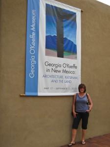 Outside the Georgia O'Keeffe Museum