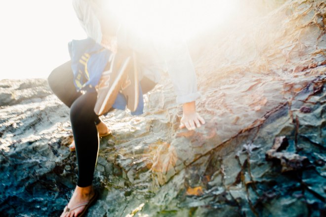 Climbing a rock