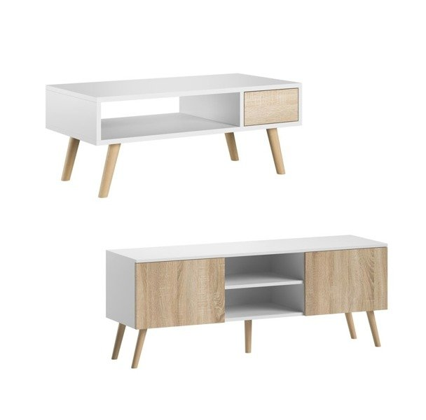 romeo juliet tv unit and coffee table set white matt with white oak