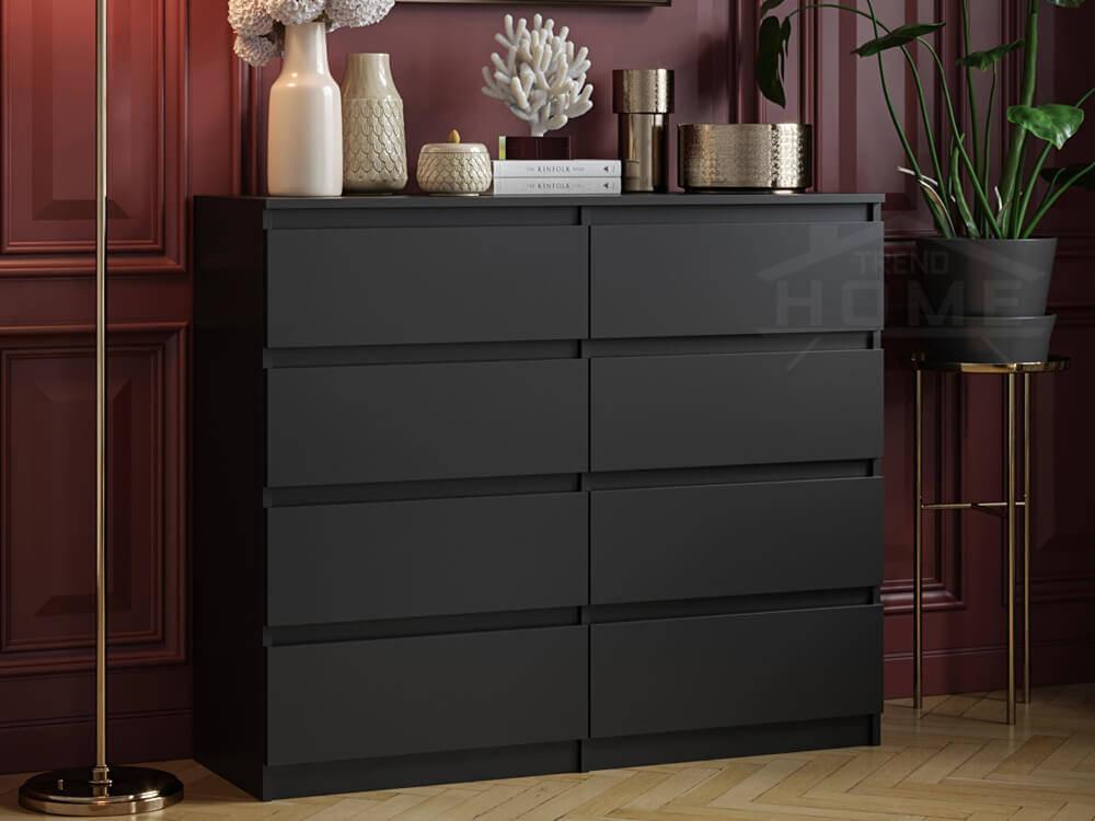 commode 8 tiroirs pari 8 noir mat 99 5 x 120 x 35 cm