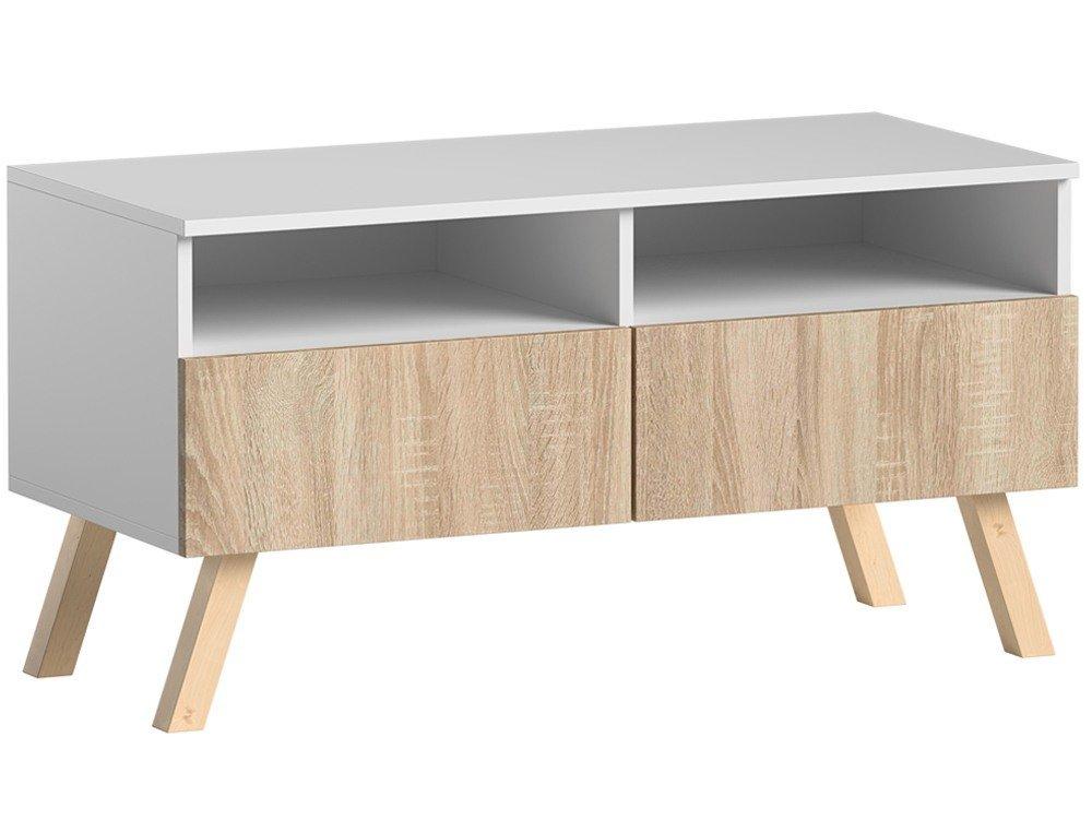 meuble tv astra i chene sonoma et blanc mat 100 cm