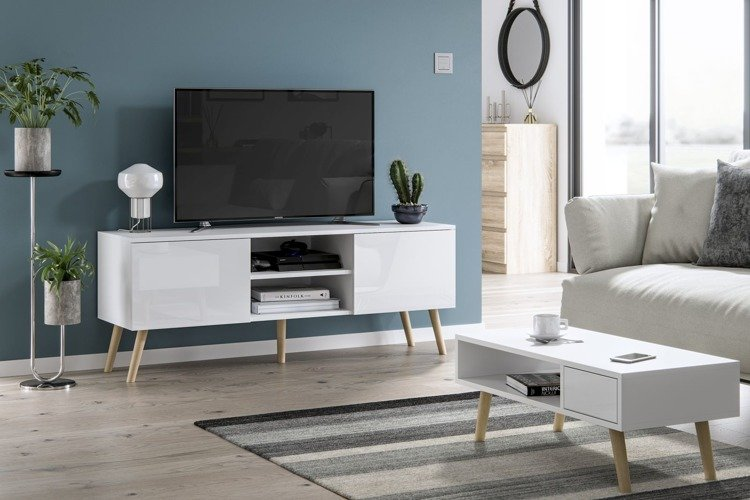 table basse juliette blanc brillant 40 x 80 cm